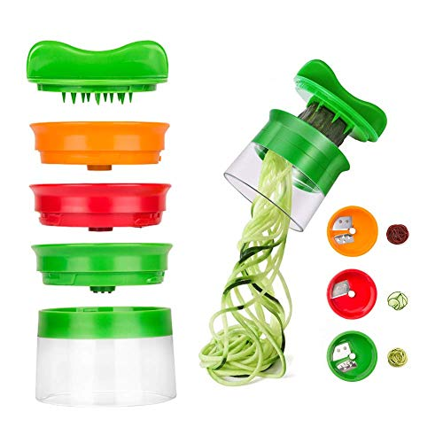 Linkax Affetta Verdure Affettatrice a Spirale Spiralizzatore Spiralizer Creativo Taglierina Mano con 3 Lame per Verdure Grattugia Cetriolo e Zucchine Spaghetti di Patate