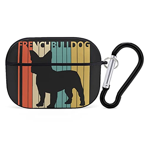 French Bulldog Retro Cases for Airpods pro Shockproof with Keychain Compatible with Wireless Charging Durable PC Airpods pro Accessories for Women