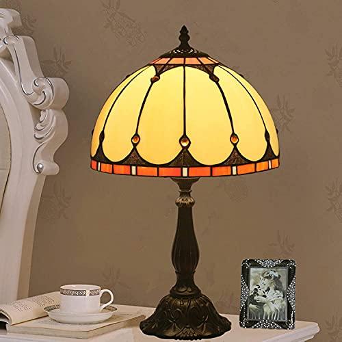 HKAFD Tiffany Style 8 Pulgadas Lámpara de Mesa artesanalada de Vidrio Barroco lámpara de Sala de Estar lámpara de Noche lámpara de Noche aleación de Zinc aleación 12in