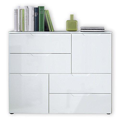 Unbekannt Kommode Sienna - Weiß Hochglanz-Weiß - 115 cm Breit