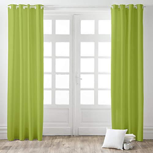 Today Rideau à Oeillets 140/260 Fougère Polyester Vert 140 x 260 cm