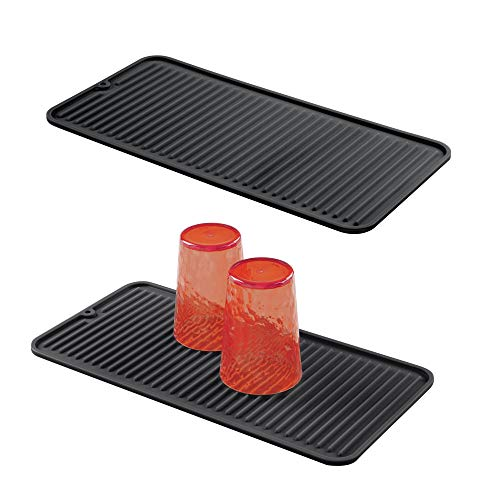 mDesign Silicone Dish Drying Mat and Protector for Kitchen Countertops, Sinks - Ribbed Design - Raised Edges, Non-Slip, Waterproof, Heat Resistant, Dishwasher Safe - Small - 2 Pack - Black