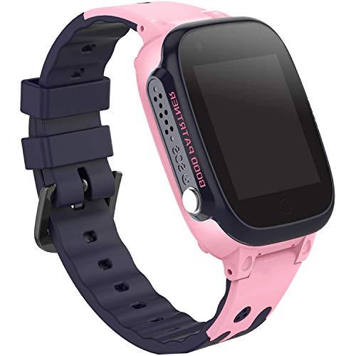 PTHTECHUS Niños Smartwatch Impermeable, Reloj Inteligente Phone con LBS Tracker SOS Chat de Voz Cámara Despertador Juego Cálculo para Regalos Estudiantes Compatible con iOS Android (01 LBS SOS Rosa)