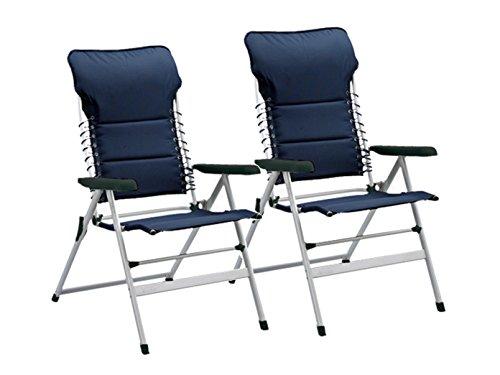 2er-Set Campingstühle / Liegestühle Novara, Sitzhöhe 50cm, in 7 Positionen verstellbar, Navy; Campart Travel CH-0592