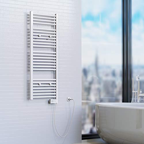 EISL BHKWZ1 Badheizkörper, Handtuchwärmer, Handtuchheizkörper, elektrisch mit Heizstab und Zeitschaltuhr, 50 x 120 cm,Weiß