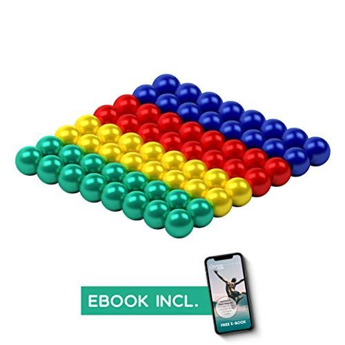 myHodo Magnetkugeln 5mm inkl. Ebook, cooles Büro und Technik Gadget, Stresskiller, Anti Stress Geschenkidee, extra starke Magnete für Magnettafel und Kühlschrank, Magnetic Balls (64 Stück, Bunt)