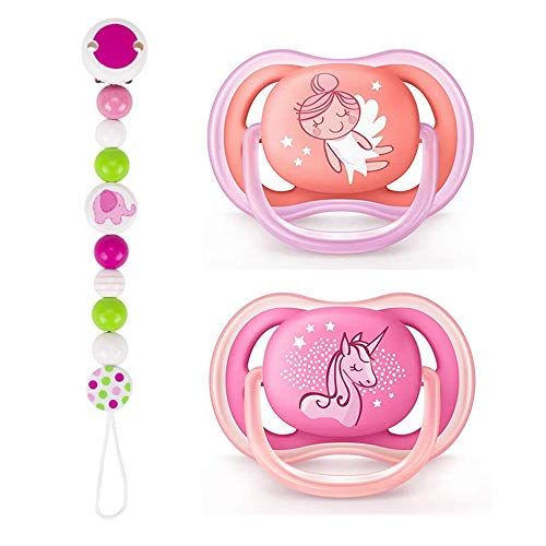 Philips Avent Ultra AIR Ciuccio da 6 a 18 'Princess', set da 2 pezzi, con scatola per il trasporto sterilizzata + catenella portaciuccio in legno con perle rosa