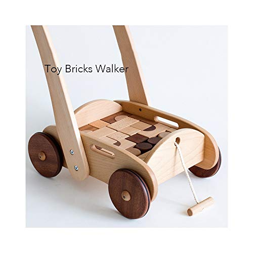 Buy Sucastle Baby Toys Walker Wooden Push and Pull Learning Walker Adjustable Height There are Build...