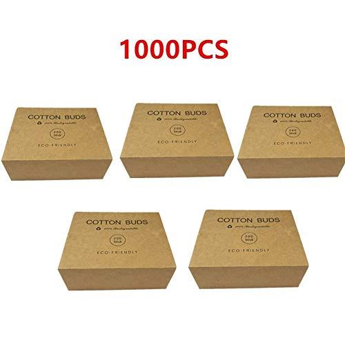 YUELANG 1000 / 2000PC Double Tête Bamboo Cotton Buds Tip Adultes Maquillage Coton Swab Bois Sticks Nez Plastique sans Oreilles Outil De Nettoyage (Color : 1000pcs)