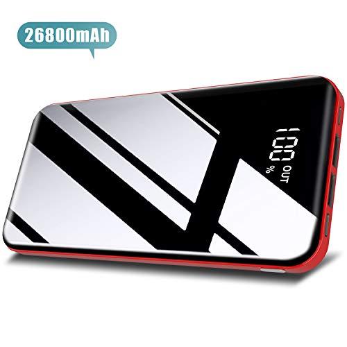 Todamay Batería Externa 26800mAh Power Bank con 3 Entradas y 2 Puertos USB Cargador Portátil Móvil Ultra Alta Capacidad con Pantalla LCD Digital para Smartphones Tabletas y Más