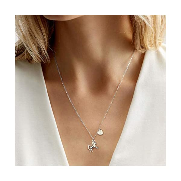 Horse Gifts for Girls, 14K White Gold Plated Heart Initial Horse Necklace Personalized Gifts Dainty Horse Jewelry Horse Necklaces for Girls Women Horse Lovers
