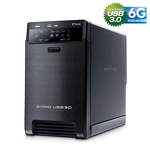 FANTEC QB-X2US3R - carcasa externa para el montaje de 2 discos duros de 8,89 cm (3,5'') SATA I/II/III, USB 3.0, función RAID , ventilador de 60mm, negro