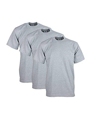 Pro Club Men's Heavyweight Cotton Short Sleeve Crew Neck T-Shirt, X-Large/Tall, Heather Gray (3 Pack)