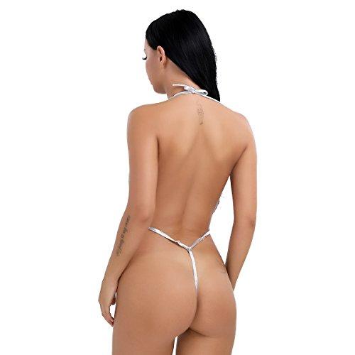 dPois Damen Monokini Wetlook Body String Neckholder Bodysuit Tanga Bikinis Frauen Micro Tankinis Dreipunkt Dessous Unterwäsche Badeanzug Bademode Silber One_Size