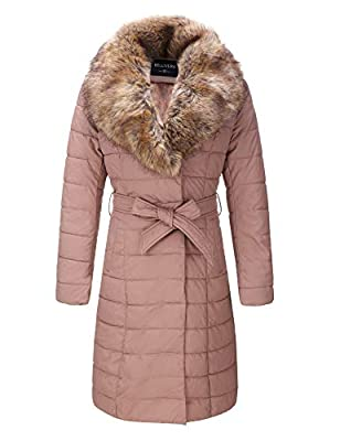 Bellivera Faux Leather Puffer Padding Long Jacket,Women Winter Bubble Coats with Detachable Faux Fur Collar Pink Medium