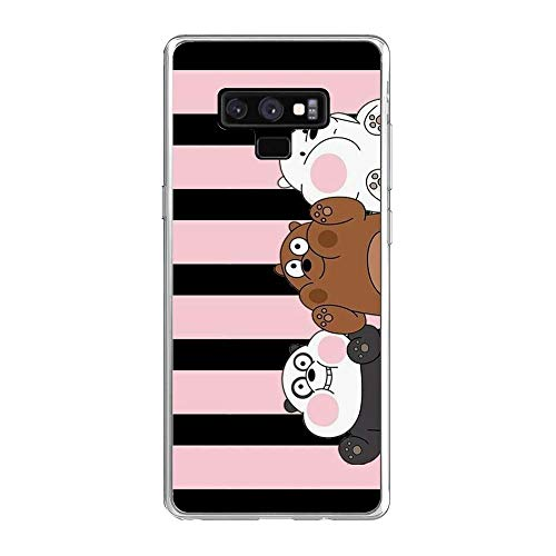 Clear Soft Silicone TPU Liquid Case for Samsung Galaxy Note 9, We Bare-Bear Animated 7