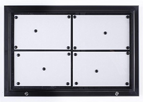 Weather Resistant, Magnetic Surface, Bulletin Board with Swing-Open Locking Door, Wall Mounted, Black Finish Aluminum Frame, for Indoor Or Outdoor Use