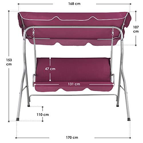 ArtLife Hollywoodschaukel 3-Sitzer mit Dach & Sitzauflage – Gartenschaukel 200 kg belastbar – Schaukelbank für Garten & Terrasse – rot - 2