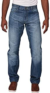 New Mens Enzo Regular Fit Straight Denim Blue Jeans Pants All Waist Sizes Light Stone Wash 38 W X32L