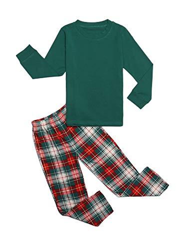 trudge Schlafanzug Jungen Mädchen Unisex Pyjama Set Kinder Langarm Einfarbig Baumwolle Top + Kariert Hose, Grün, 110/2-3 Jahre