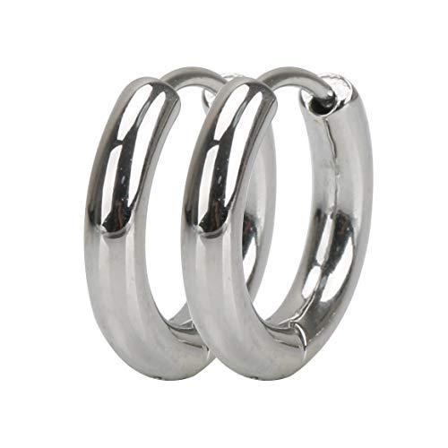 [silver KYASYA]太め 両耳 幅3mm ステンレス316L メンズ フープピアス シルバー ゴールド ブラック リングピアス 金 銀 黒 316Lピアス フープ (シルバー(SILVER) 内径:16mm)