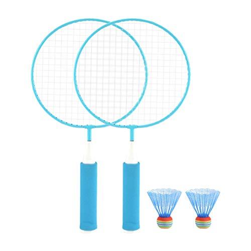 Ahagut Set da Badminton con Palline robuste 1 Paio di Racchette da Badminton per Principianti, Tempo Libero e Hobby (Blu)