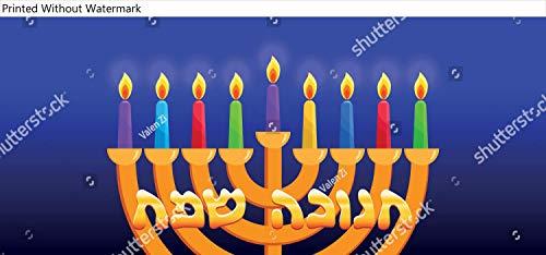 KwikMedia Poster of Jewish Holiday of Hanukkah, Nine Colored Burning Candles, Hanukkah Menorah, Nine-branched Candelabrum, Greeting Inscription Hebrew - Happy Hanukkah, Golden Letters on Dark Blue