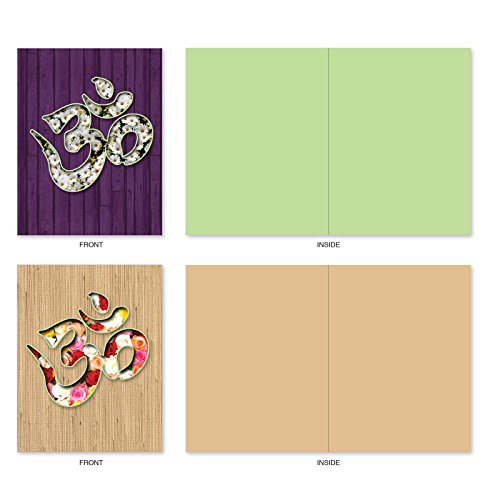 The Best Card Company - 10 Zen Blank Greeting Cards Assorted (4 x 5.12 Inch) - OM Blooms M3971 Photo #4