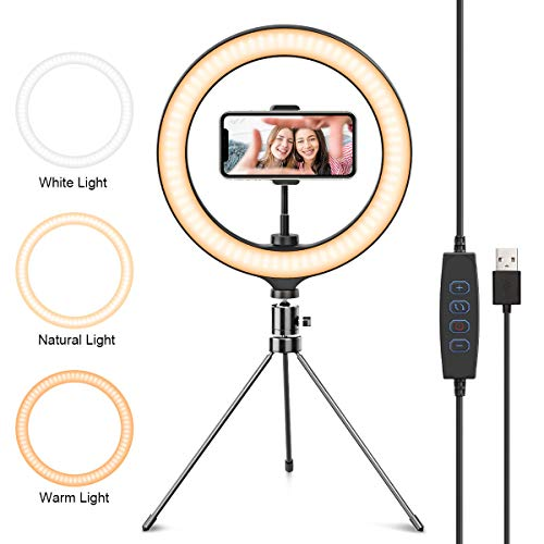 """DMYCO Luz de Anillo LED 10"""" fotográfica de Escritorio, 3 Colores 10 Brillos Regulables, Trípode con Soporte Giratorio de teléfono para Selfie, Maquillaje, Youtube, TIK Tok"""