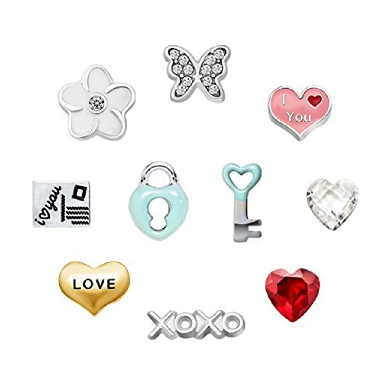 Q&Locket 10Pcs Love You Key Lock Floating Charms For Glass Living Memory Locket Necklace Bracelets