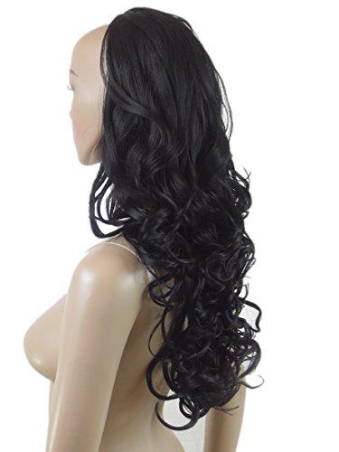 175 VANESSA GREY Toutes les couleurs disponibles, Pince Extension De Cheveux Bouclée Ondulée Extra Longue Noire 81cms