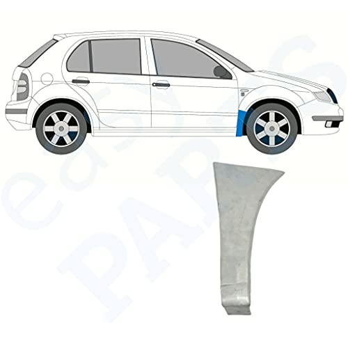 Panel de reparación de ala delantera adecuado para Skoda Fabia / 1999 – 2007 / todos los modelos/acero sin pintar, lado derecho (lado del conductor/fuera del aire/O/S) / Deshazte del óxido en tu coche