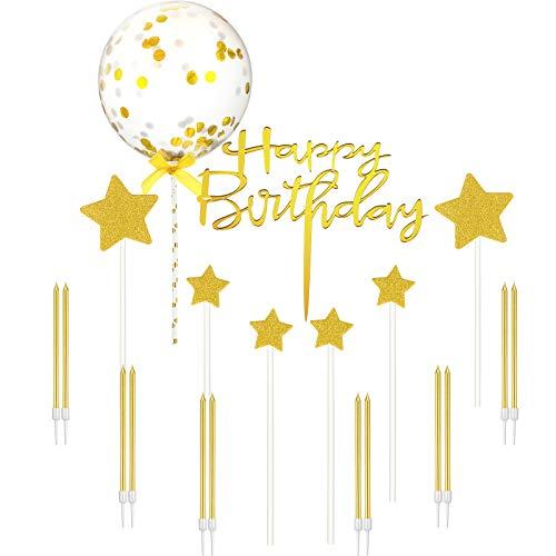 Kit de Decoración de Tarta de Cumpleaños, Topper de Tartas de Happy Birthday Brillante Dorado, 12 Velas de Pastel y 6 Adornos de Tarta de Estrella Brillante para Cumpleaños Boda Baby Shower