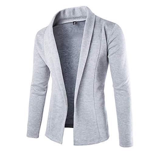 Huaheng Mens Solid Blazer Cardigan Lange Mouw Casual Slim Fit Sweater Jas Gebreide Jas XL Lichtgrijs