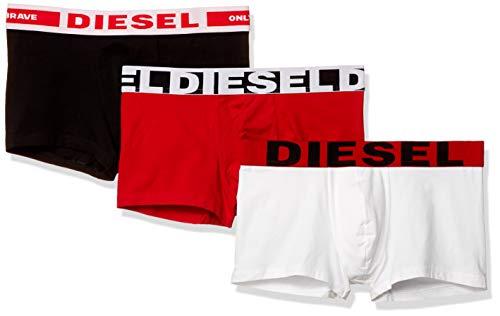 Diesel Herren Boxershorts 3 Pack - UMBX-Damienthreepack, Trunks, einfarbig, Rot/Schwarz/Weiß L