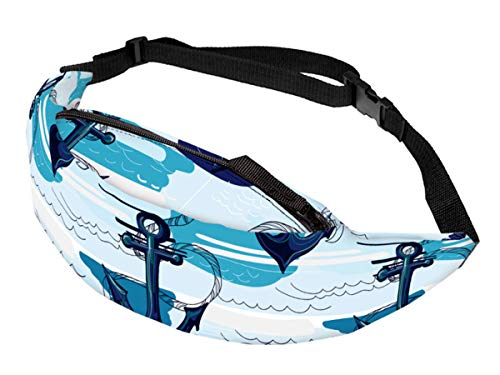 Alsino Unisex Bauchtasche Festival Hippie Hipster Gürteltasche mit Reißverschluss und Innenfach - 13 cm Breit, All-Over Print Motiv, GT-105 Anker Wellen blau
