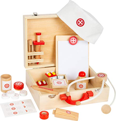small foot 11695 Arztkoffer Naturholz, Arzt-Spielset, mit vielen Zubehörteilen, Rollenspiel ab 3 Jahren Toys, Braun