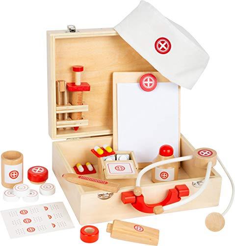 small foot 11695 Arztkoffer Naturholz, Arzt-Spielset, mit vielen Zubehörteilen, Rollenspiel ab 3 Jahren Toys