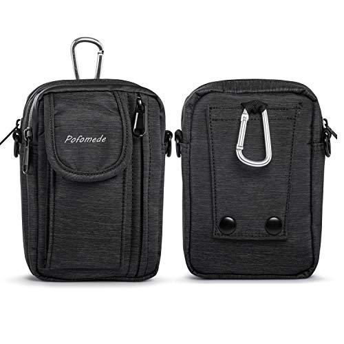 Pofomede Bolsa compacta de Cintura Riñoneras para Herramientas Pequeñas Bandolera Hombre Multiusos Deporte Teléfono Móvil al Aire Libre (Negro)