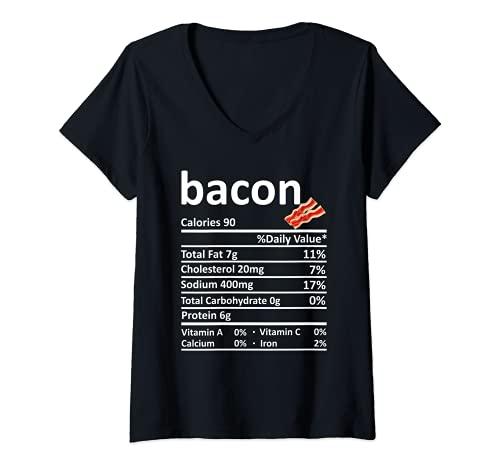Mujer Bacon Nutricin Informacin Alimentaria Disfraz de Accin de Gracias Navidad Camiseta Cuello V