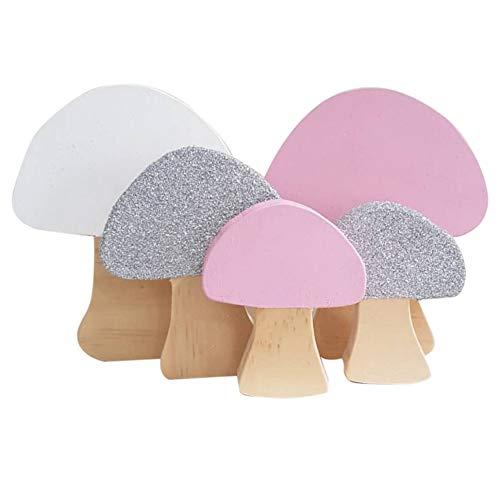 Decoración de vivero de dormitorio infantil Estilo nórdico Adorno de madera en forma de hongo Decoración de escritorio para habitación de niños Boda Baby Shower Fondo de foto