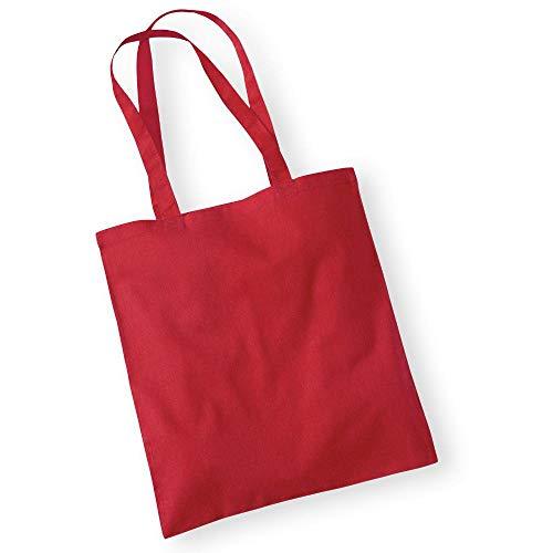 Westford Mill - Baumwoll-Tragetasche mit langen Henkeln One Size,Classic Red