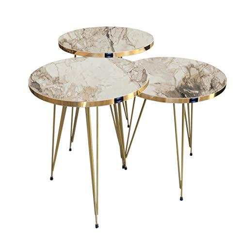 moebel17 5385 EYGD08 - Beistelltisch 3 er Set rund - Kaffeetisch Satztisch Metallgestell, Wohnzimmertisch Tisch, Braun Marmoroptik, vergoldet, Breite 38 cm x Höhe (H) 45,5 cm (H) 49,5 cm (H) 53,5 cm