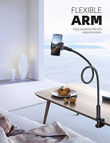 Lamicall Handy Halter für Bett, Schwanenhals Handy Halterung - Flexible Lang Arm Handy Ständer für iPhone 12 Mini, 12 Pro Max, 11 Pro XS Max X 8 7 6S, Samsung S10 S9 S8, 4-7 Zoll Smartphone -Schwarz