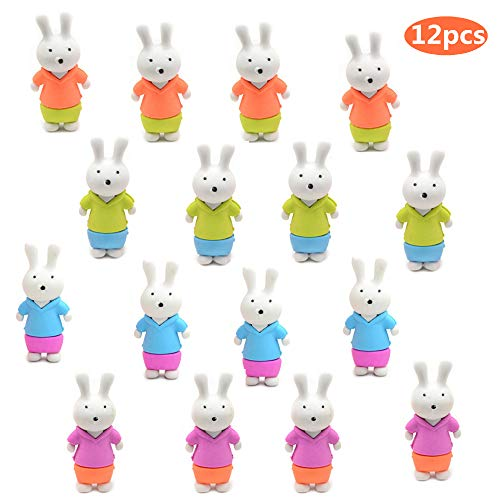 Mchochy 12Pcs Cute Bunny Puzzle Erasers Mini Erasers for Kids Birthday Party Supplies Favors, School Classroom Rewards and Novelty Toys Children's Day Gifts for Kids