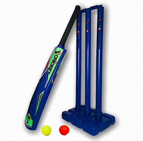 Cricket Plastic Set Blaster Beach Set Blue Play in Backyard Bat Balls Stumps and Carry Bag for product image