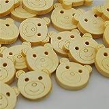 25/50/100 Uds botones de madera lindo oso de dibujos animados Baby Show apliques DIY artesanía costura WB139-100 Uds