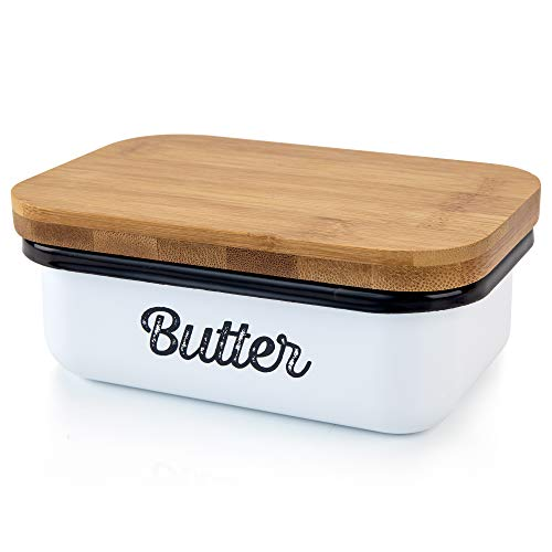 Granrosi Farmhouse Butter Dish - Beautiful Butter Container With Wooden Lid Keeps Your Butter Soft and Enhances Your Kitchen Decor