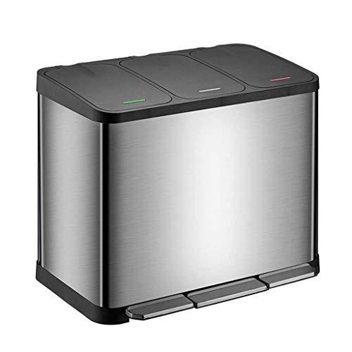LZQBD Bote de Basura, Basura con Tapa 3 Compartimento Pase de 45 Litros Reciclaje de Basura, Acero Inoxidable Dustbin para la Cocina