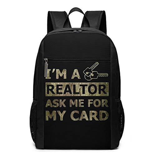 Real Estate Realtor Card Schultasche Reiserucksack 17 Zoll Laptop BagGgDupp, Polyester, Schwarz , Einheitsgröße